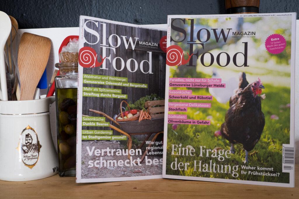 SlowFood Magazin zeigt Mensch wie man gut isst. Alte Weisheiten sind wieder hochaktuell.