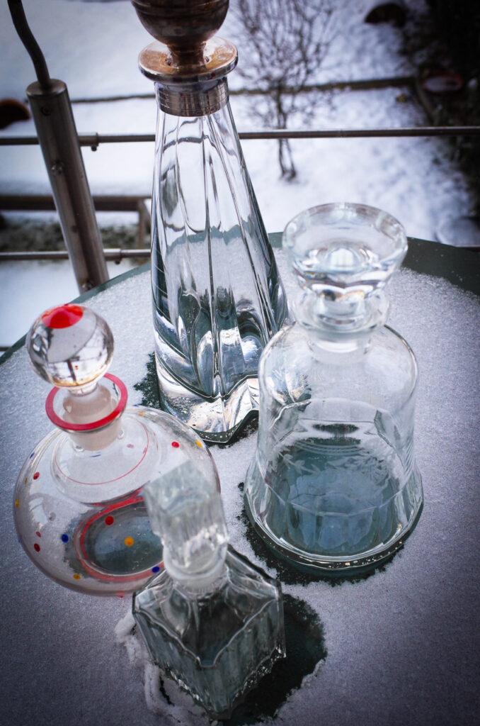 gebraucht statt neu: schöne alte Glaskaraffen von Ebay für selbst gemachten Likör