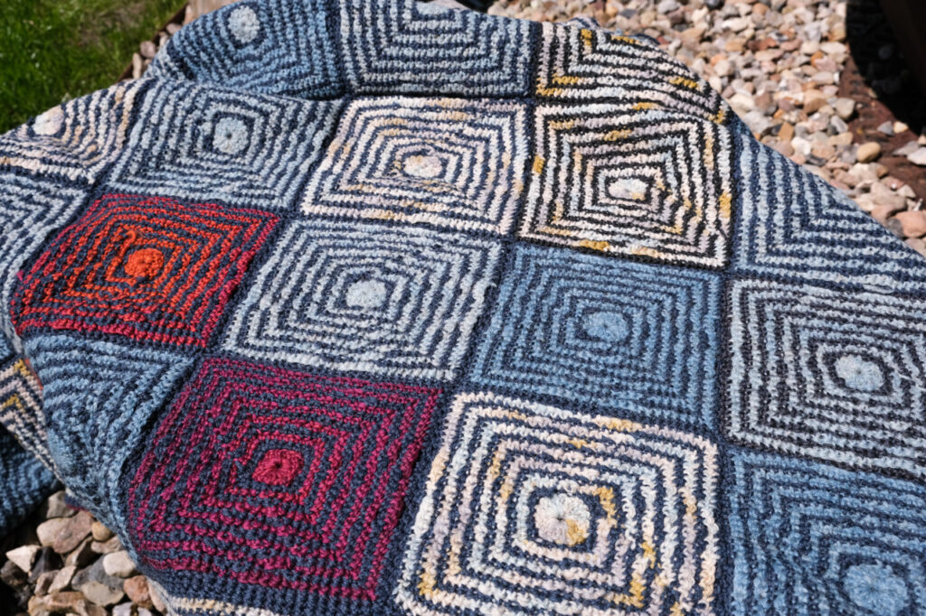 handcrafted Mosaic-technic blanket